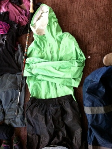 Patagonia Torrent Rain Shell and Decathelon Rain Pants