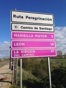 Sign just outside Mansilla de las Mulas